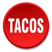 tacos red round flat isolated push button - stock illustration