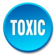 Stock Illustration of toxic blue round flat isolated push button