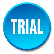 trial blue round flat isolated push button - stock illustration