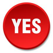 Yes red round flat isolated push button Stock Illustration