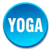 yoga blue round flat isolated push button - stock illustration