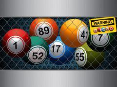Bingo cage with warning sign - stock illustration