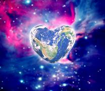 The earth in the shape of a heart, elements of this image furnished by NASA - stock photo