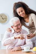 Never too old for new technology - stock photo