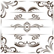 Vector set of bookplates and corners for design Stock Illustration