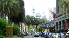 Fullerton hotel building with the Victoria Theatre & Concert Hall tower Stock Footage