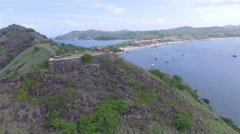Drone heads towards mountain - St Lucia Stock Footage