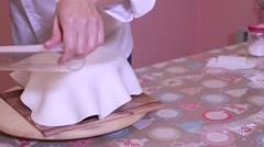 Preparation of a fondant cake, sponge cake, chocolate and sugar Stock Footage
