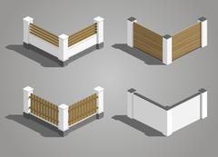 Set fence sections - stock illustration