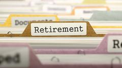 File Folder Labeled as Retirement Stock Illustration