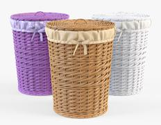 Wicker Laundry Basket 03 Set 3 Color 3D Model