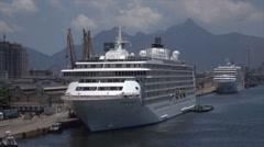 The World cruise ship moored in Rio de Janeiro, Brazil Stock Footage