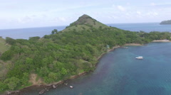 4k panoramic of mountain tops and bay - St Lucia Stock Footage