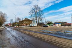 Tutaev, Russia - March 28, 2016. Architecture and general view of  town Stock Photos