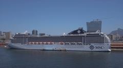 MSC cruise ship Poesia moored in Rio de Janeiro, Brazil Stock Footage