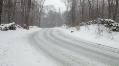 Snowstorm on Street, icy road, winter in New England Stock Footage