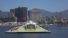 Science museum of Tomorrow, Rio de Janeiro skyline, Brazil Stock Footage