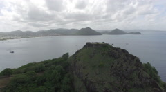 View of coastline from hilltop from mountain - Saint Lucia Stock Footage