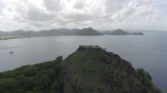 View of coastline from mountain top - Saint Lucia Stock Footage