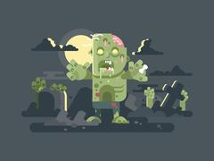Zombies in cemetery night Stock Illustration