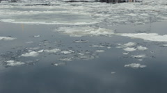 Floating of ice on the Neva river in Saint-Petersburg, Russia Stock Footage