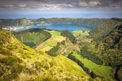 Walking path leading to a view on the lakes of Sete Cidades, Azores, Portugal Stock Photos