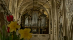 Old Gothic Church Organ Stock Footage