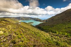 Lagoa do Fogo, a volcanic lake in Sao Miguel, Azores - stock photo