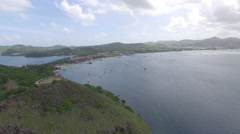Panoramic view of St Lucia coastline from hilltop Stock Footage