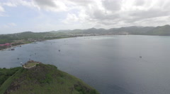 Panoramic views  of mountains and sea - St Lucia Stock Footage