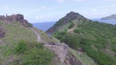 Tourists on mountain landmark - Saint Lucia Stock Footage