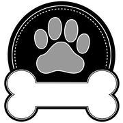 Dog Bone and Paw - stock illustration