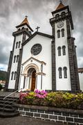 Tower of St. Sebastian church (Igreja Matriz de Sao Sebastiao) in Ponta Delga - stock photo