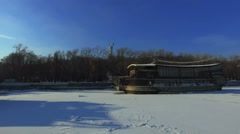City embankment in winter sunny day - ice on the Dnieper. Stock Footage