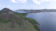 Panoramic views  of coastline and mountain - St Lucia Stock Footage
