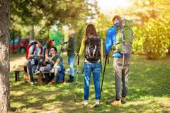 Mountaineers make break to refresh and relax - stock photo