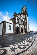 Tower of St. Sebastian church (Igreja Matriz de Sao Sebastiao) in Ponta Delga Stock Photos