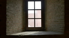 Window and Thick Brick Wall Stock Footage