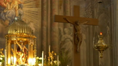 Altar and Jesus Crucifix Stock Footage