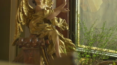 Gilded Baroque Angel Sculpture Stock Footage