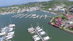 View of St Lucia landscape and marina Stock Footage