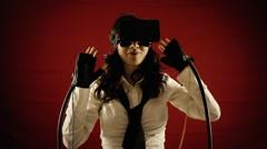 Virtual reality girl experience Stock Footage