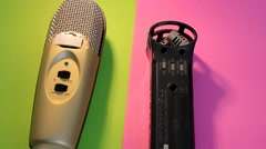 Microphones - Rotation - pink - Green 02 Stock Footage