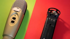 Microphones - Rotation - Red - Green 01 Stock Footage