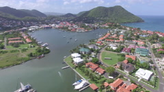 View of a town marina - St Lucia Stock Footage