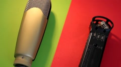 Microphones - Rotation - Yellow - Red 01 Stock Footage
