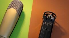 Microphones - Rotation - Yellow - Orange 02 Stock Footage