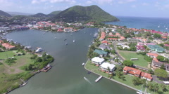 Panoramic view of marina and town - St Lucia - stock footage