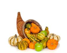 Autumn Cornucopia on white Stock Photos