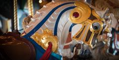 Colorful carousel horse - stock photo